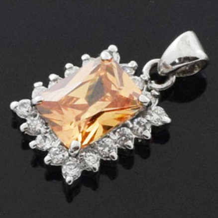 925 Sterling Silver Orange and  White CZ Micro Setting Cocktail Pendant