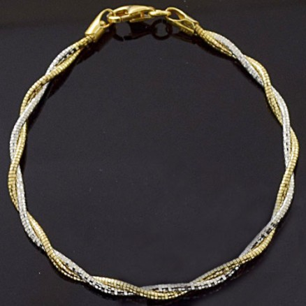 Two Tone 925 Silver Yellow Gold Silver Twisted Italian Bangle or Bracelet