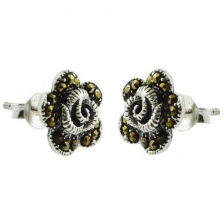 Swiss Marcasite 925 Sterling Silver Stud Earrings
