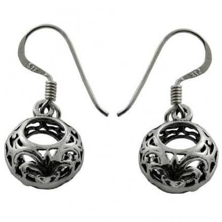 Bali Inspired Filigree 925 Sterling Silver Oxidized Earrings