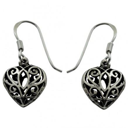 Heart Bali Inspired Filigree 925 Silver Oxidized Hook Earrings