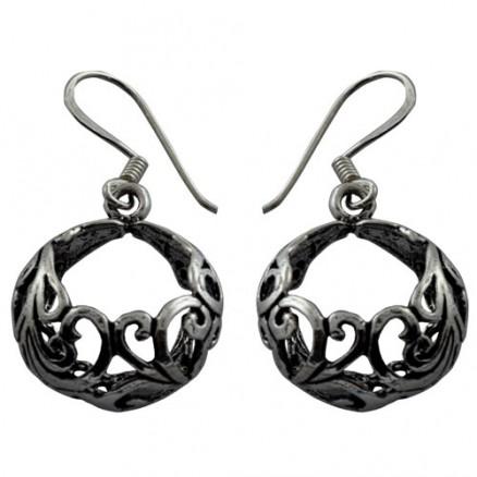 Open Celtic Circle Dangle  Bali Inspired Filigree 925 Silver Oxidized Hook Earrings