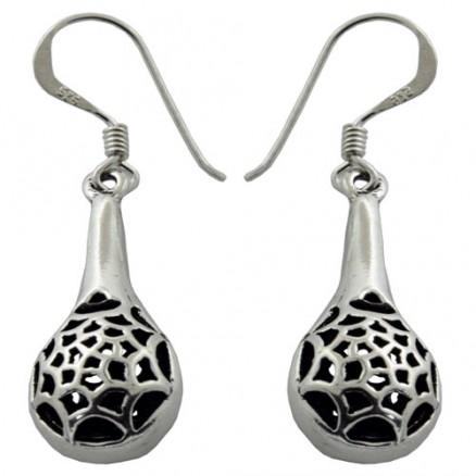 Bali Inspired Filigree 925 Silver Oxidized Hook Earrings