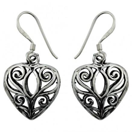 Heart Dangle Bali Inspired Filigree 925 Silver Oxidized Hook Earrings