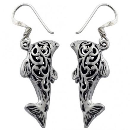 Fish Dangle Bali Inspired Filigree 925 Silver Oxidized Hook Earrings