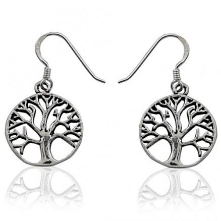 Tree of Life Symbol Open Filigree Round Dangle 925 Silver Oxidized Hook Earrings