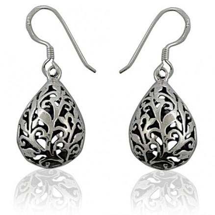 Teardrop Bali Inspired Filigree 925 Silver Oxidized Hook Earrings