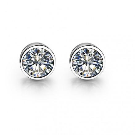 925 Silver 4 MM Round Bezel Set Sparkling White CZ Stud Earrings