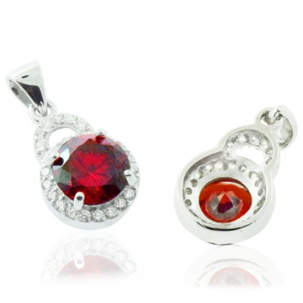 Round Cut Diamond  Red And White CZ 925 Sterling Silver Halo Pendant