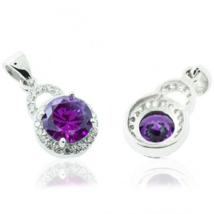 Round Cut Diamond  Purple And White CZ 925 Sterling Silver Halo Pendant