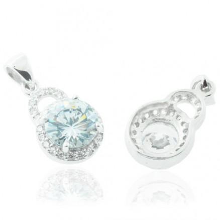Round Cut Diamond  White CZ 925 Sterling Silver Halo Pendant