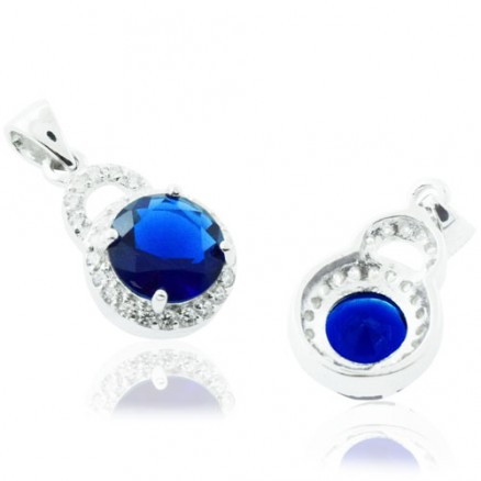 Round Cut Diamond  Blue And White CZ 925 Sterling Silver Halo Pendant