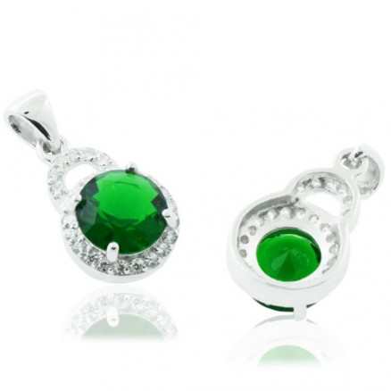 Round Cut Diamond  Green And White CZ 925 Sterling Silver Halo Pendant