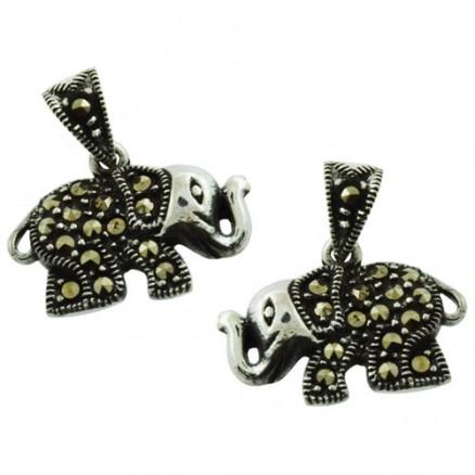 Royal Elephant Genuine Swiss Marcasite 925 Silver Pendant