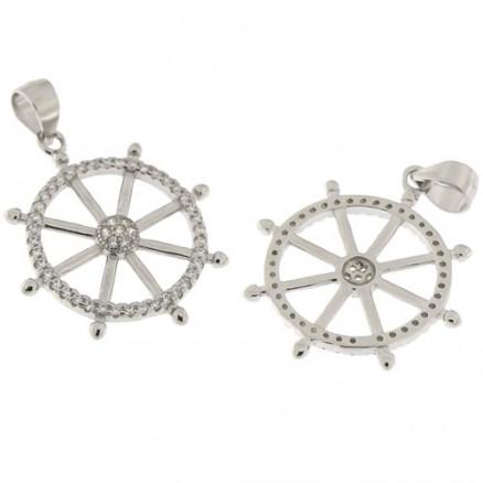 925 Sterling Silver Plain Anchor Design White CZ Pendant