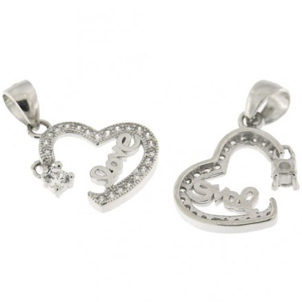 925 Sterling Silver Micro Pave Setting White CZ  Heart Pendant