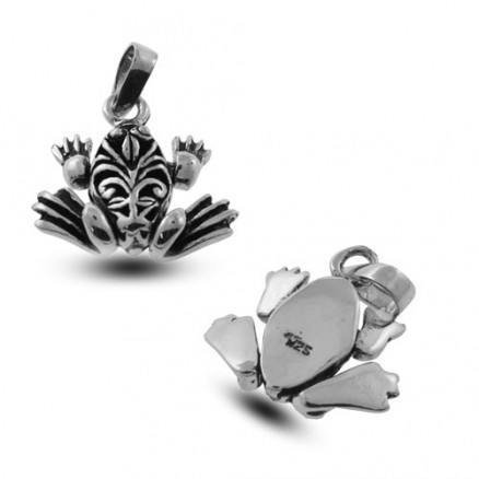 Naturalistic Hopping Frog with Moving Legs 925 Sterling Silver Oxidized Charm Pendant