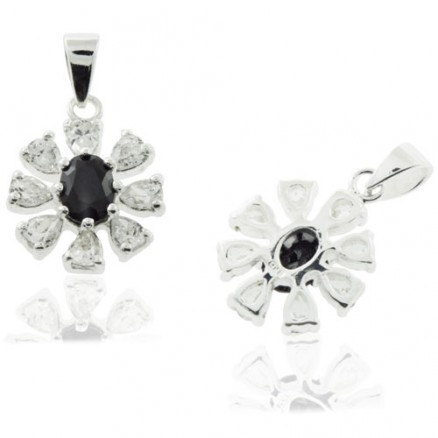 925 Sterling Silver Black and  White CZ Flower Pendant