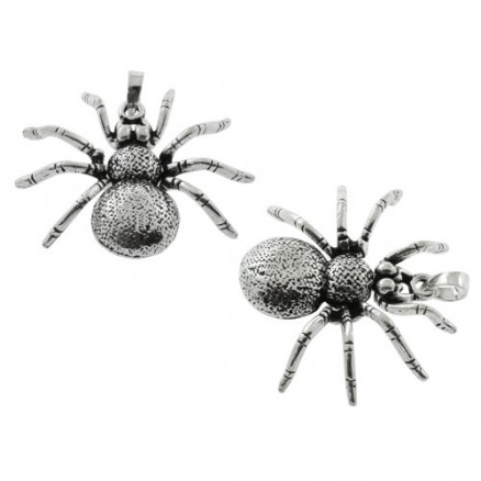 Cute Little Spider 925 Sterling Silver Oxidized Charm Pendant