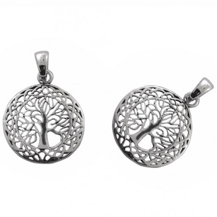 Tree of Life Symbol Style 925 Sterling Silver Plain Oxidized Pendant