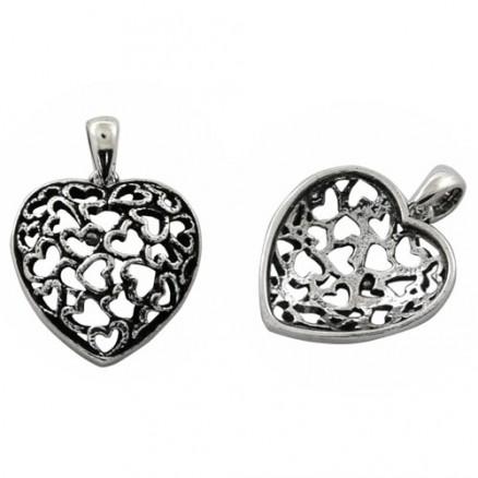 Heart Design 925 Sterling Silver Oxidized Pendant