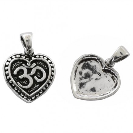 Om Hindu Symbol Filigree with Heart 925 Sterling Silver Oxidized Pendant