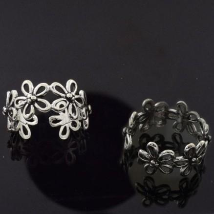 925 Sterling Silver Plain Flower Design Oxidized Ring
