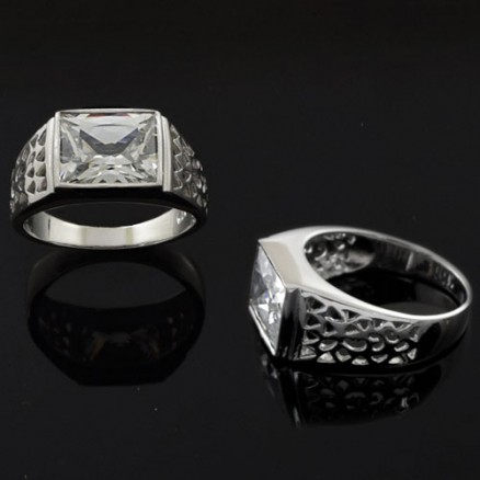 Princess Cut White Sparkling CZ 925 Sterling Silver  Mens Ring