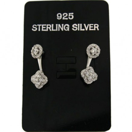 Round And Flower  White CZ 925 Sterling Silver 2 in 1 Ear Jackets